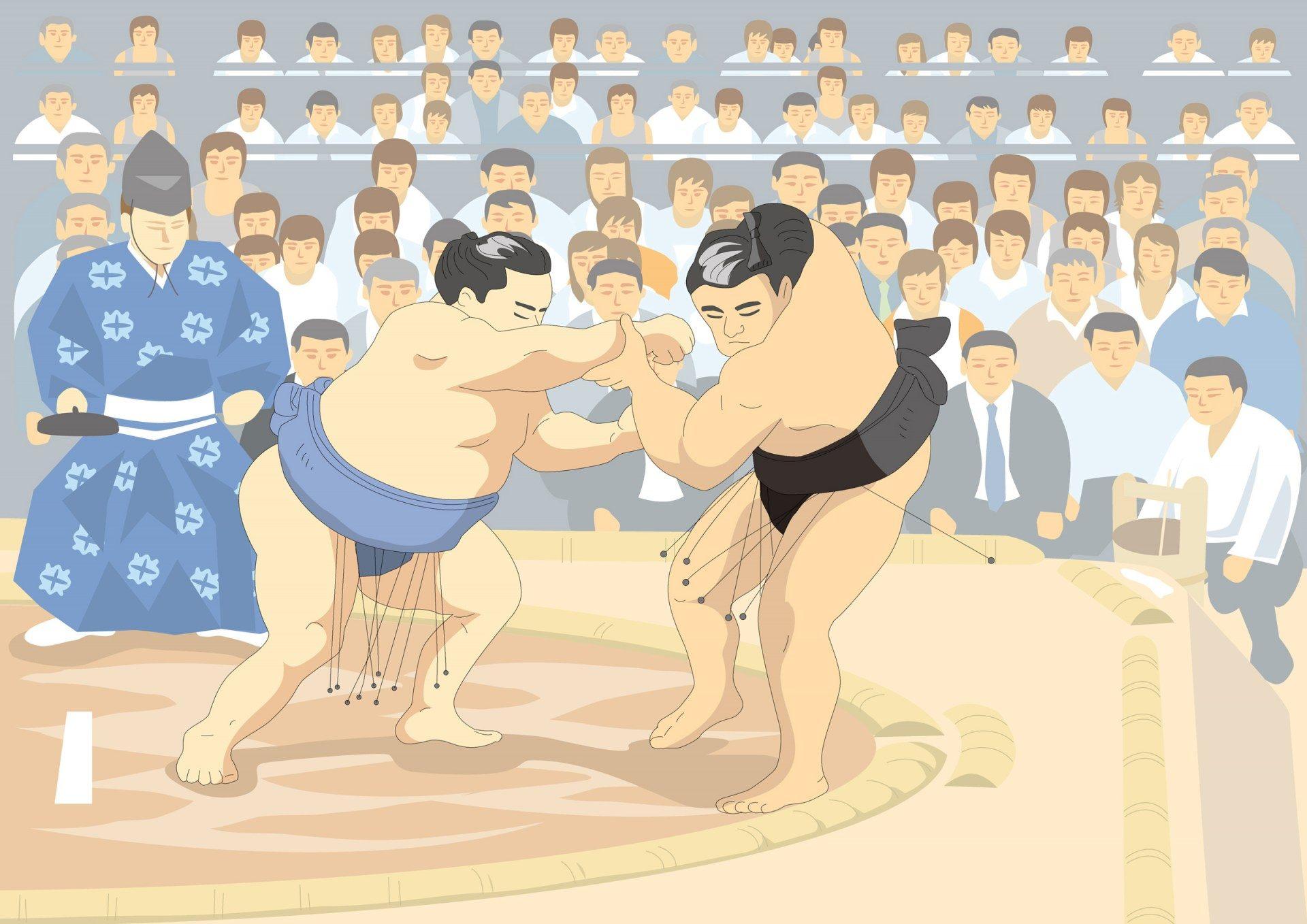 參加相撲比賽的力士
