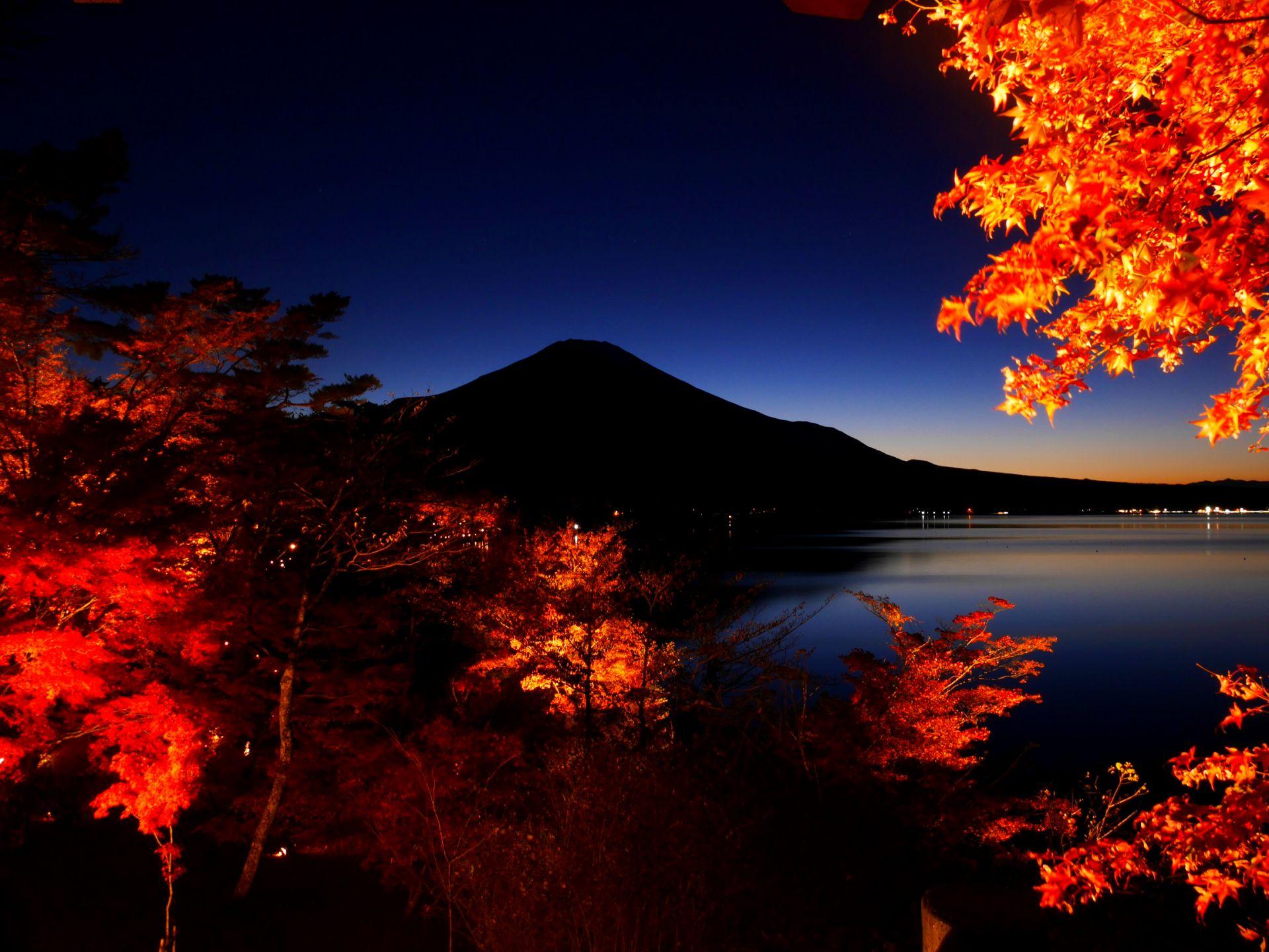 山口湖 從湖畔晚霞展望台拍到的絕景