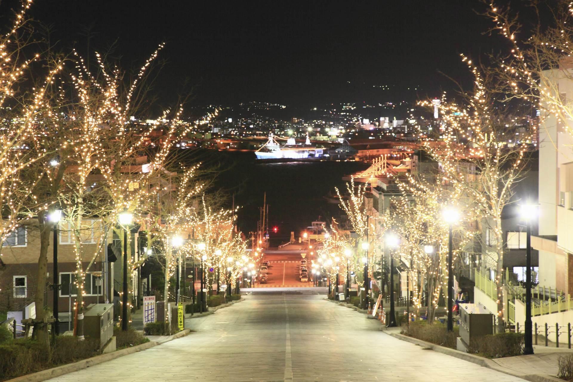 冬季期間(12~2月)的八幡坂夜景♡