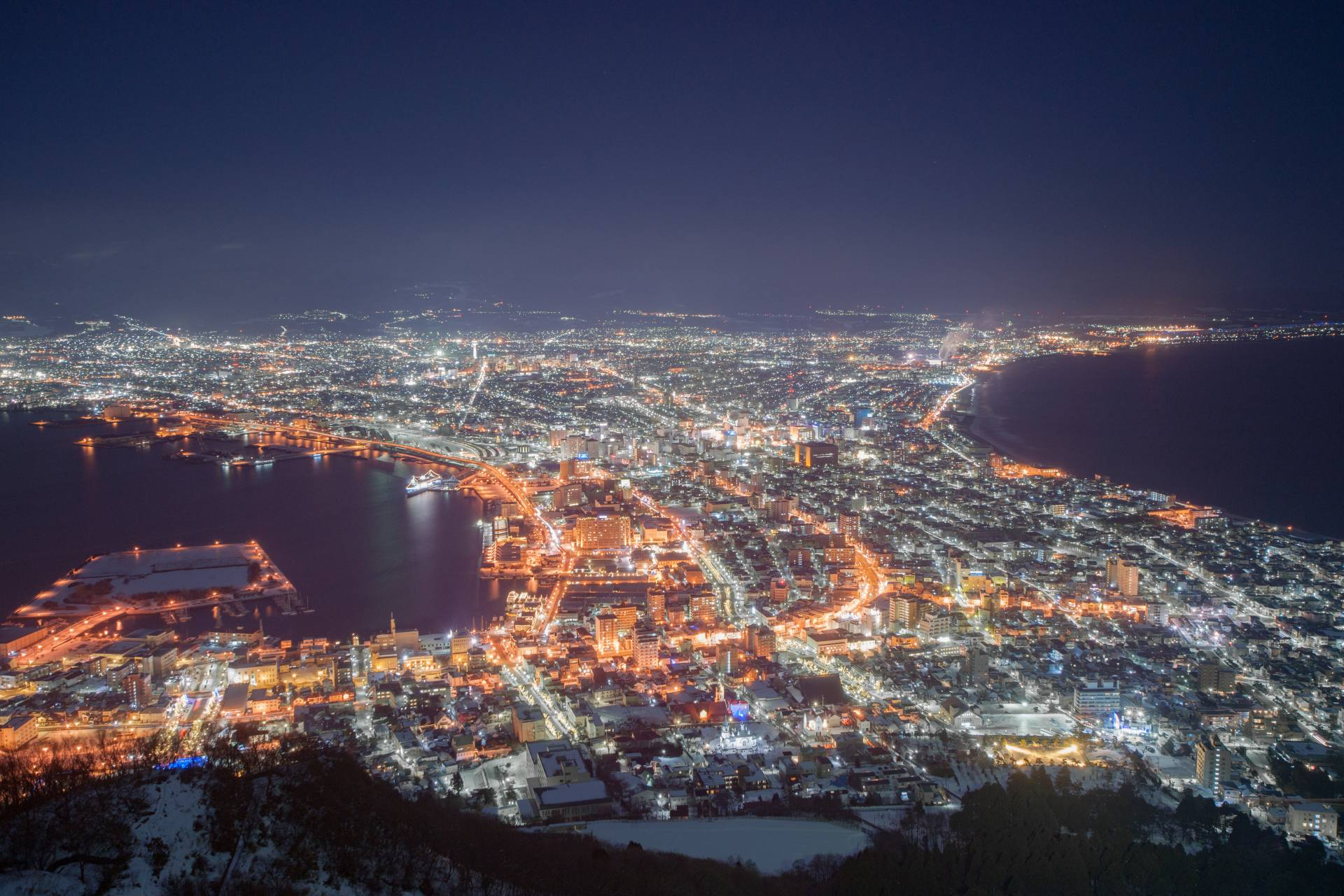 Night view of Hakodate in winter