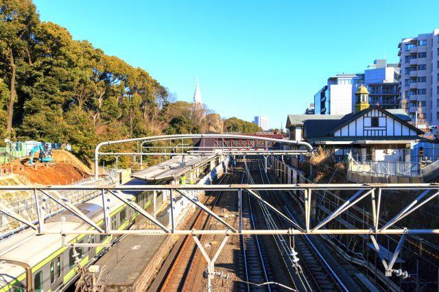 站在神宮橋上可以看見原宿車站