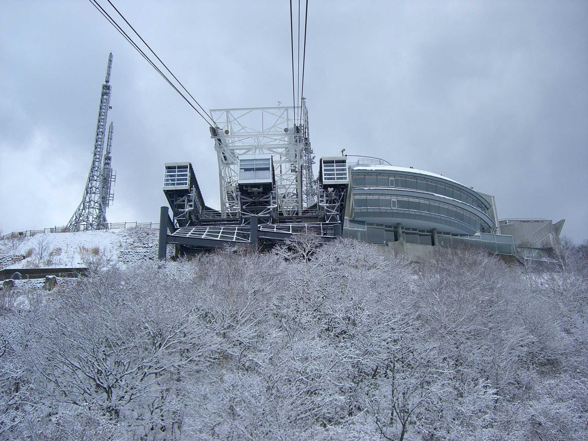 搭乘空中缆车前往函馆山的山顶