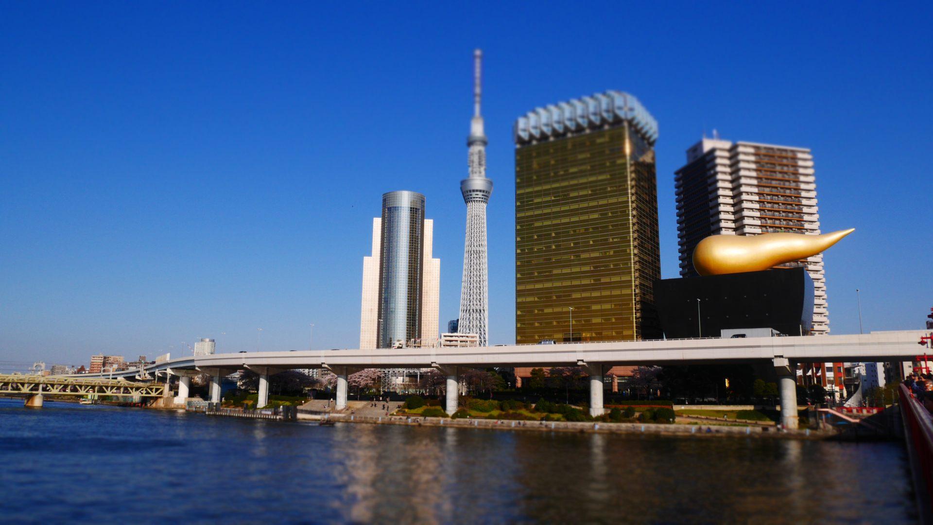 晴空塔、隅田川和極具特色的朝日啤酒大樓