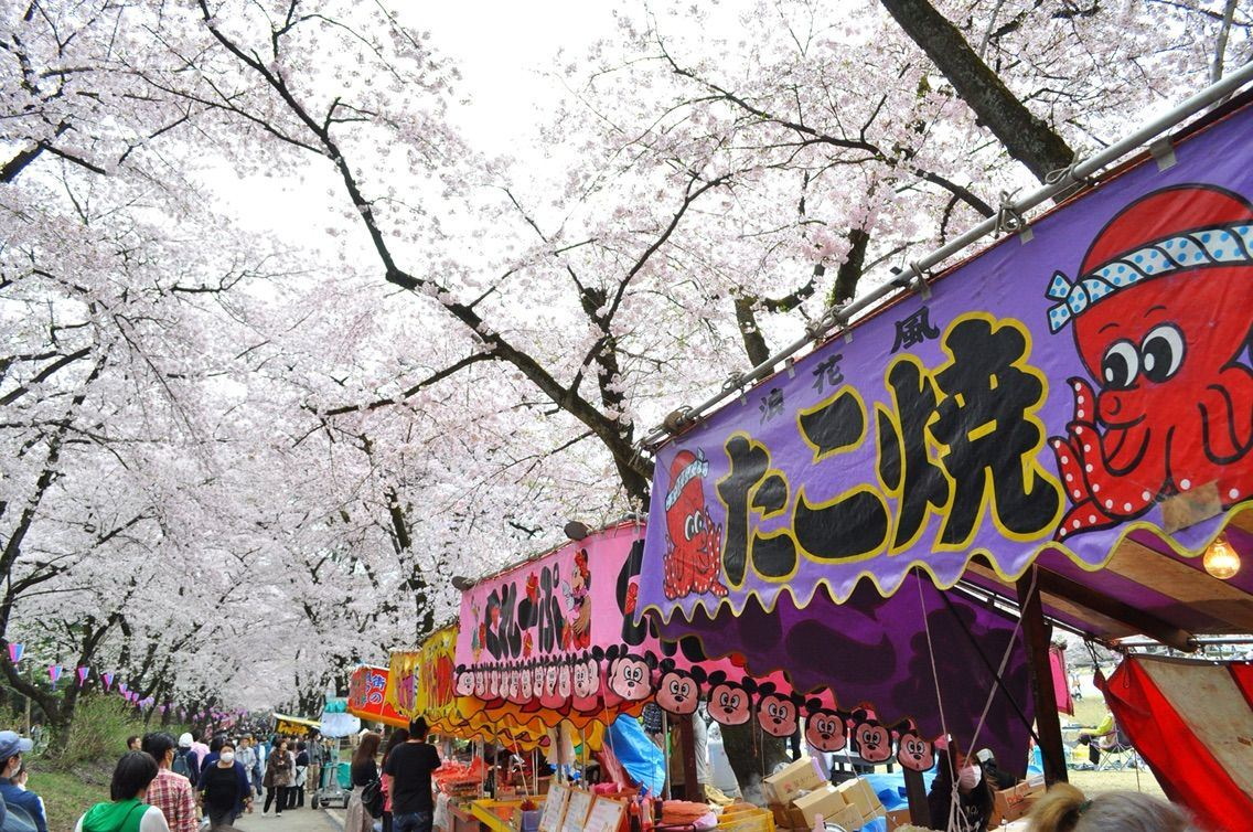 櫻花祭期間有許多小吃攤位