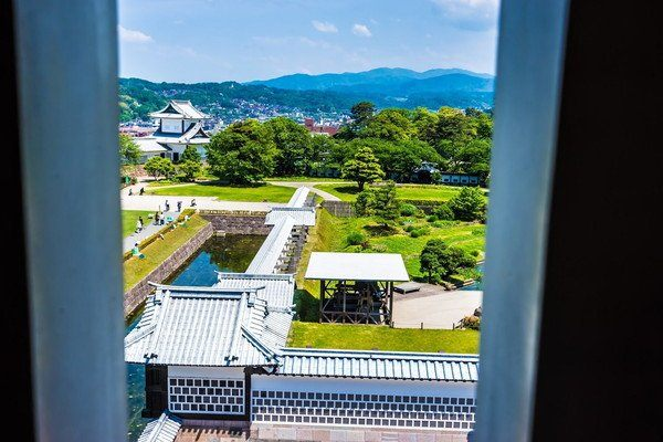 The view of the Ishikawa-mon gate from inside the building