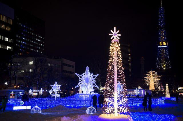 冬季札幌的風景詩,札幌白色燈樹節