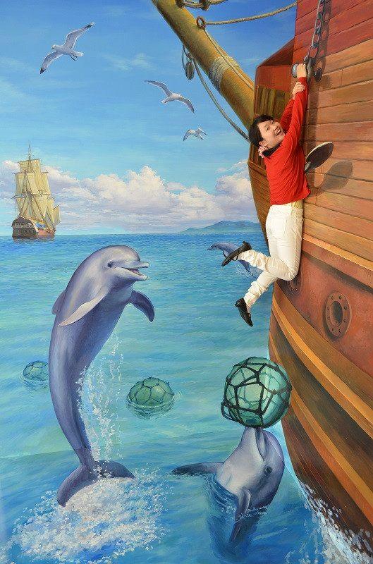 能够和海豚玩耍的艺术