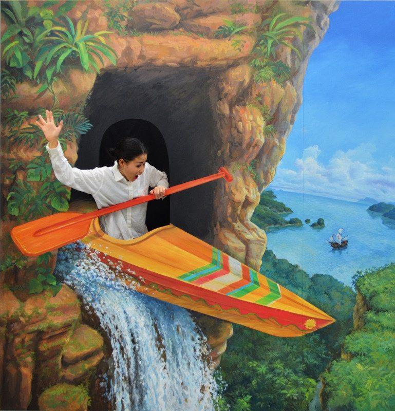 坐獨木舟泛流而下的藝術