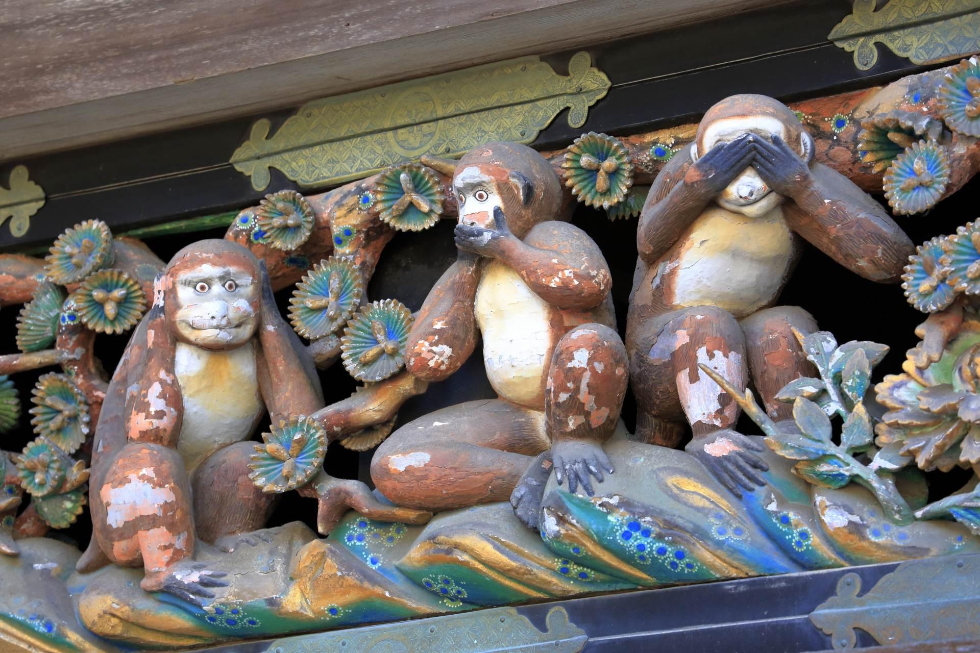 日光東照宮、不見、不聞、不言、彫刻