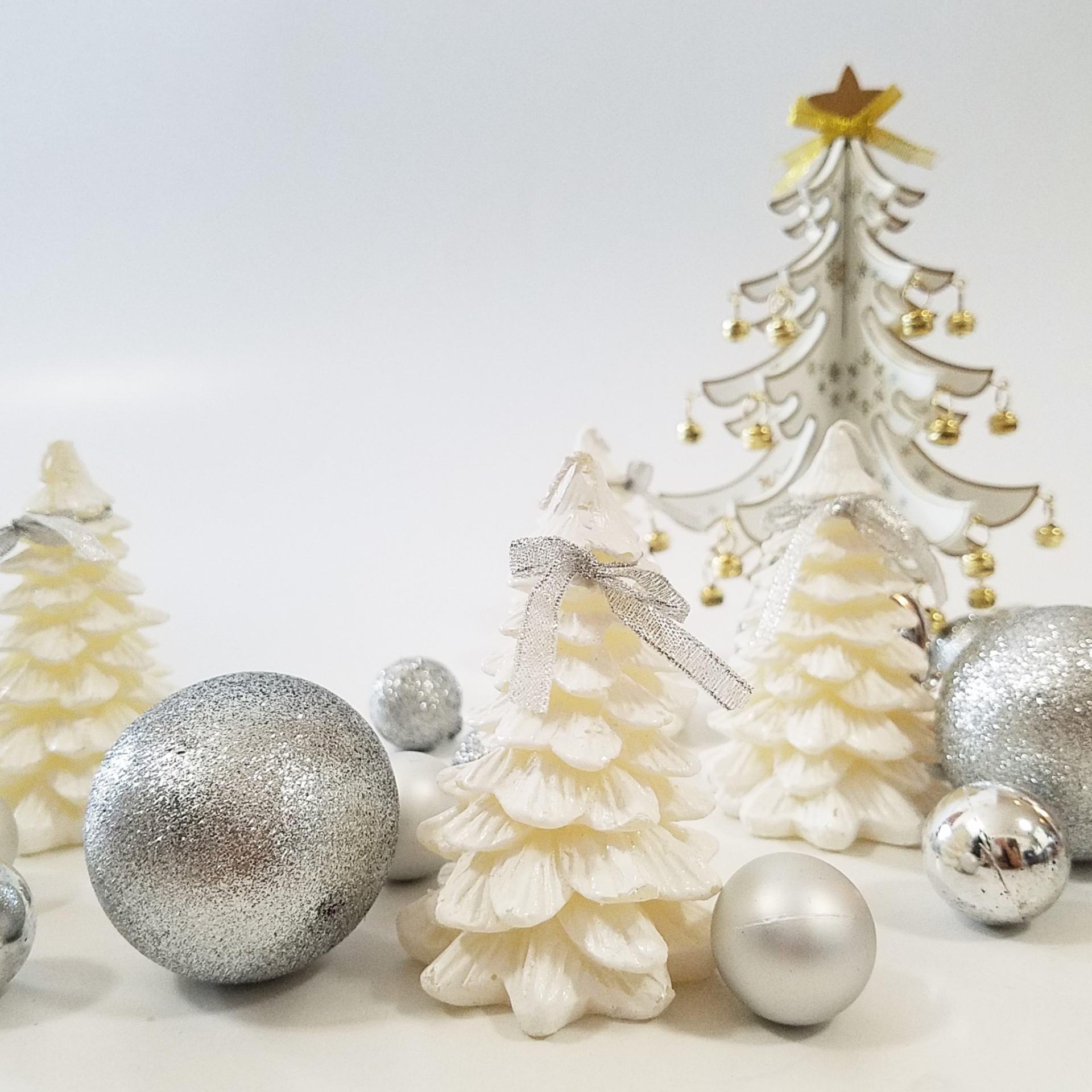白色聖誕!聖誕蠟燭&木製聖誕樹♡