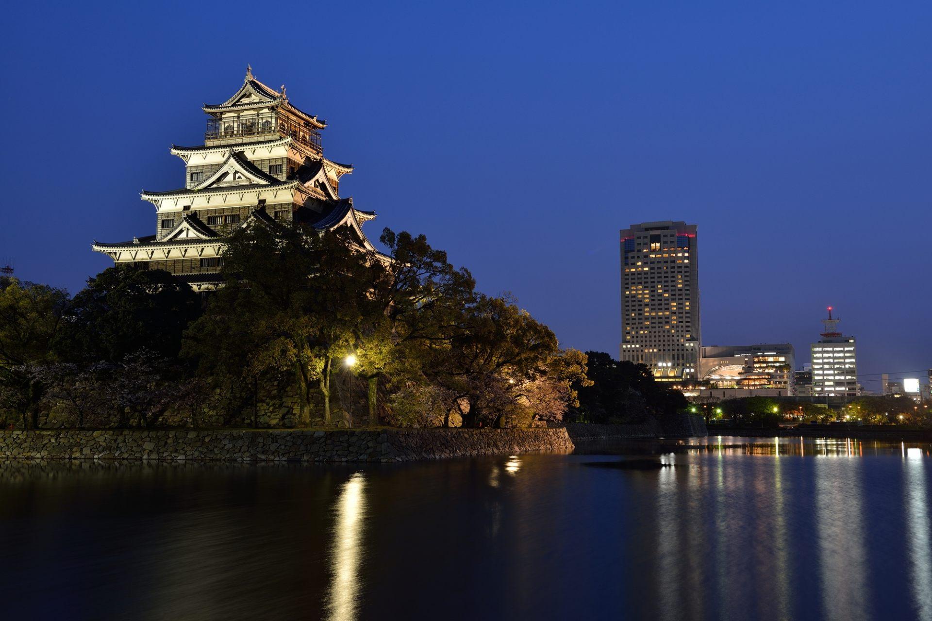 廣島城、天守閣、夜景、點燈、活動、護城河