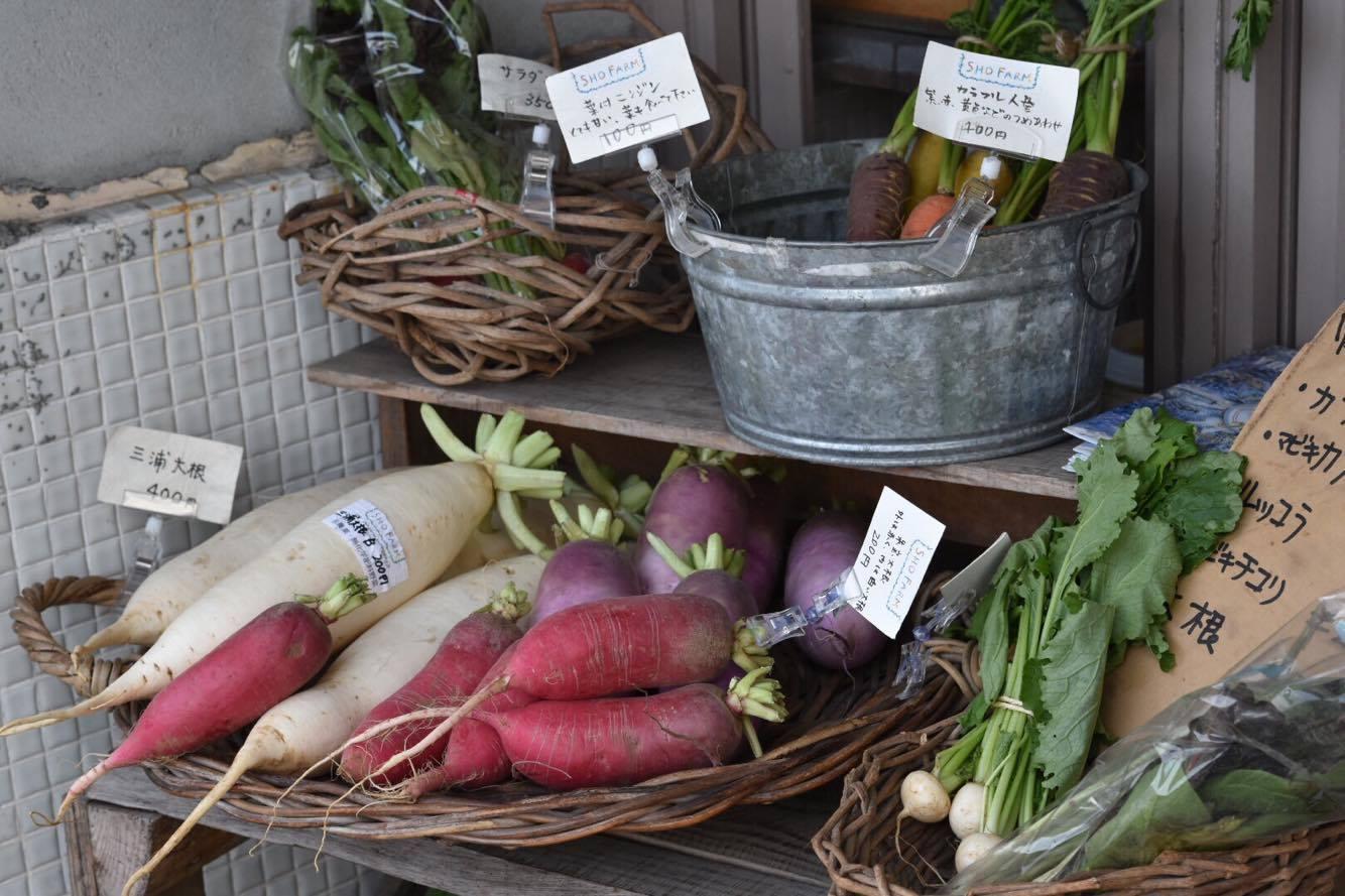 店內還販賣當地生產的蔬菜