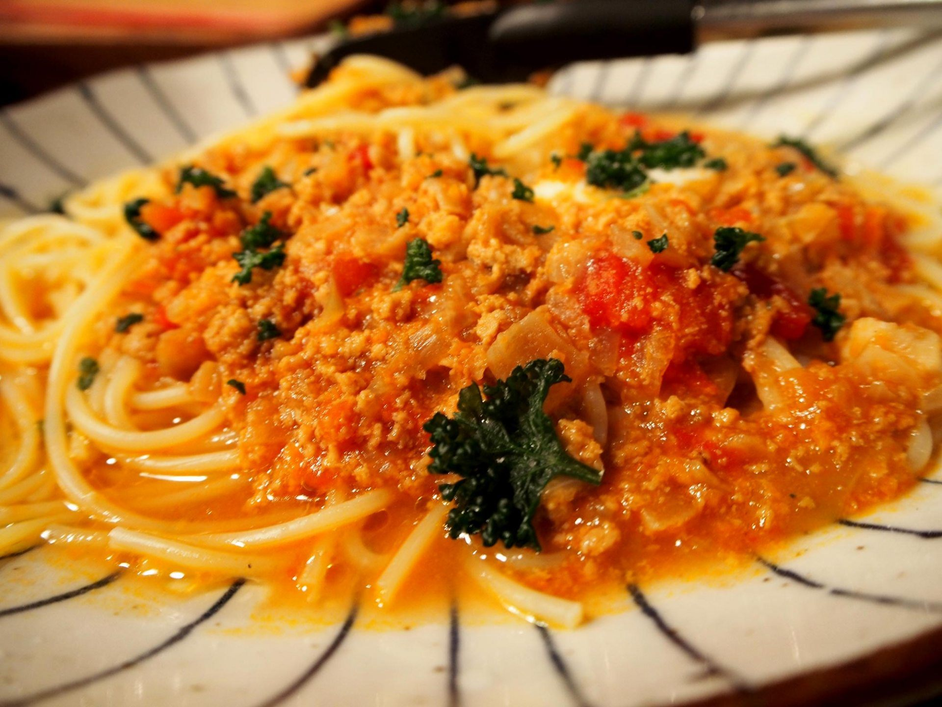 Japanese-style Meat Sauce Pasta with Jidori Chicken and Three Kinds of Cheese 690 yen