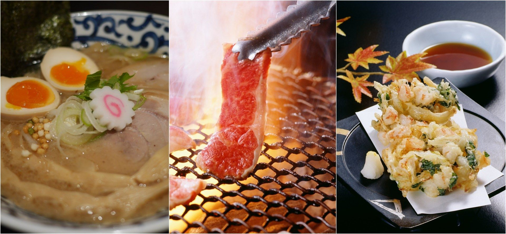 日本人氣的拉麵、烤肉和天婦羅