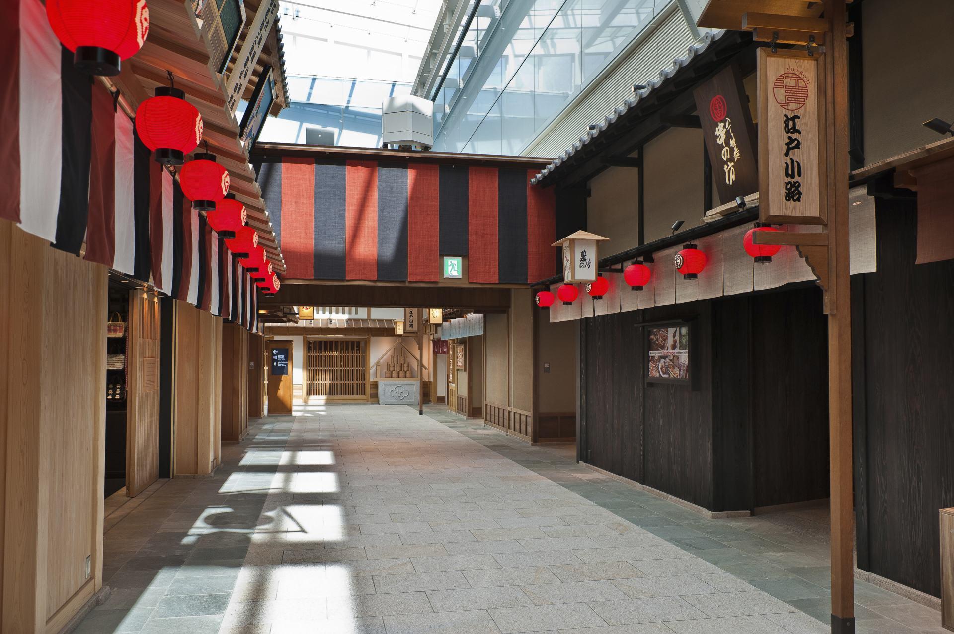 羽田机场、国际线航厦车站、江户小路、购物、餐厅、日本式、日本、机场