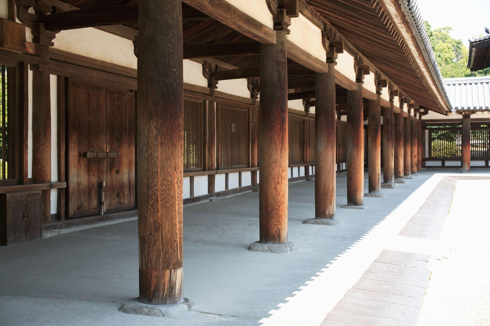 法隆寺、回廊
