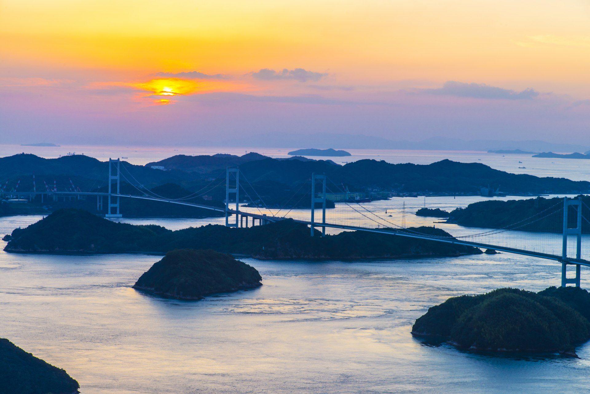 大島、龜老山展望公園、夕陽、絶景、愛知、廣島