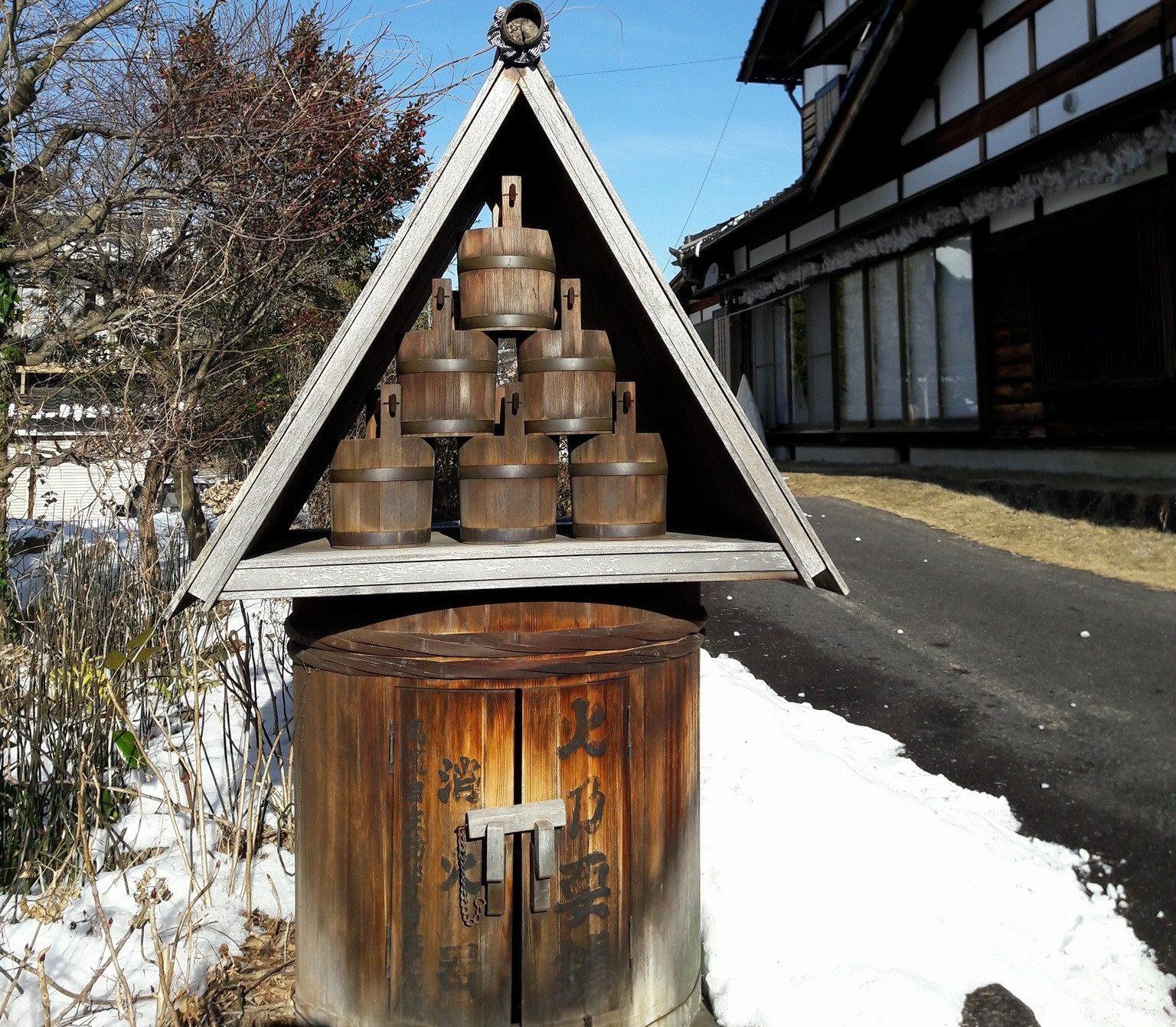 馬籠宿老街:木製消防栓
