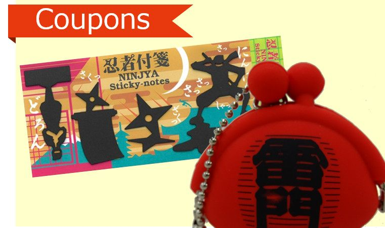 """Ninja post it"" , ""Kaminarimon Silicon Mini Coin Wallet"""
