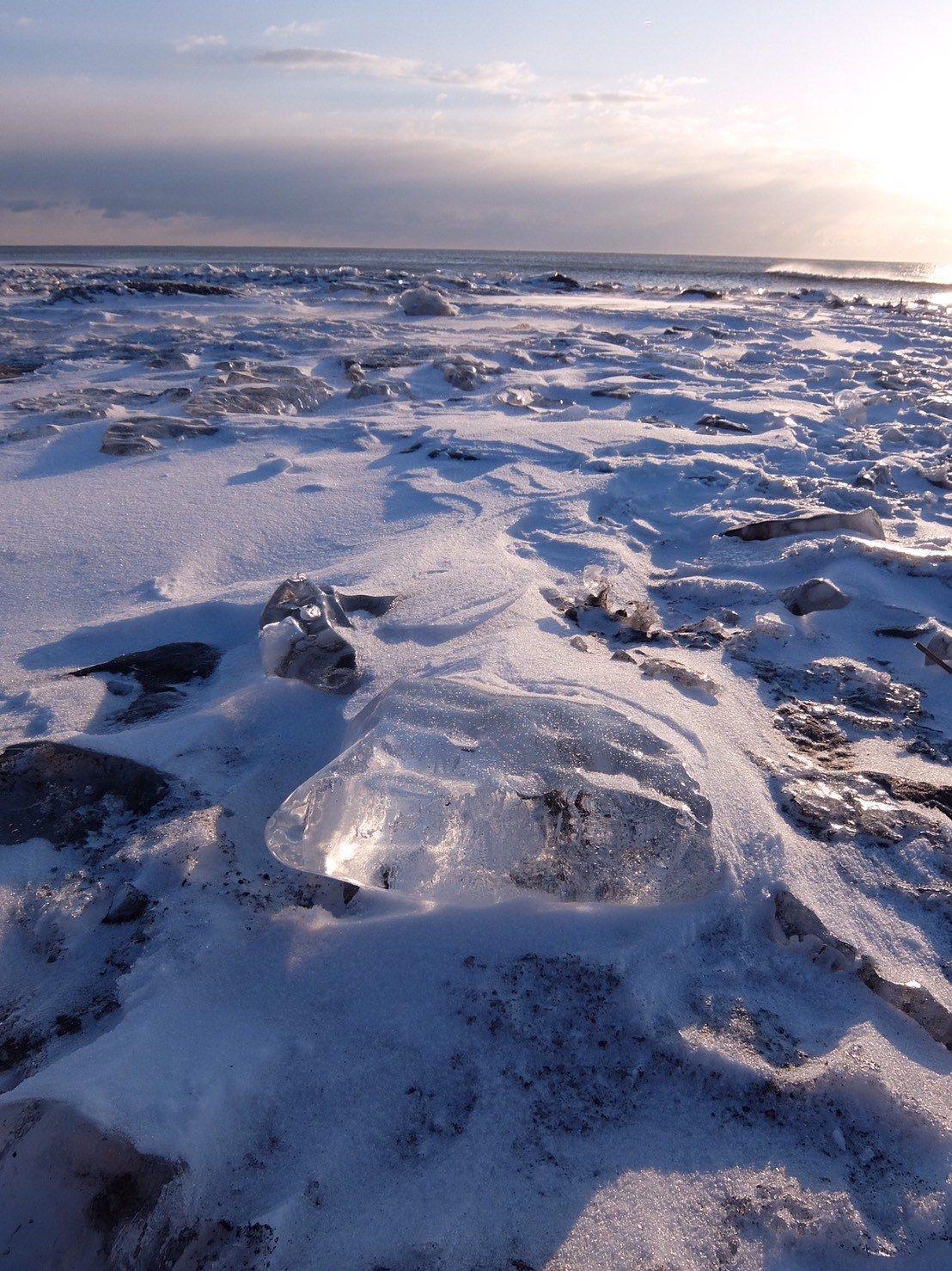 冰塊就像晨光中閃耀的寶石