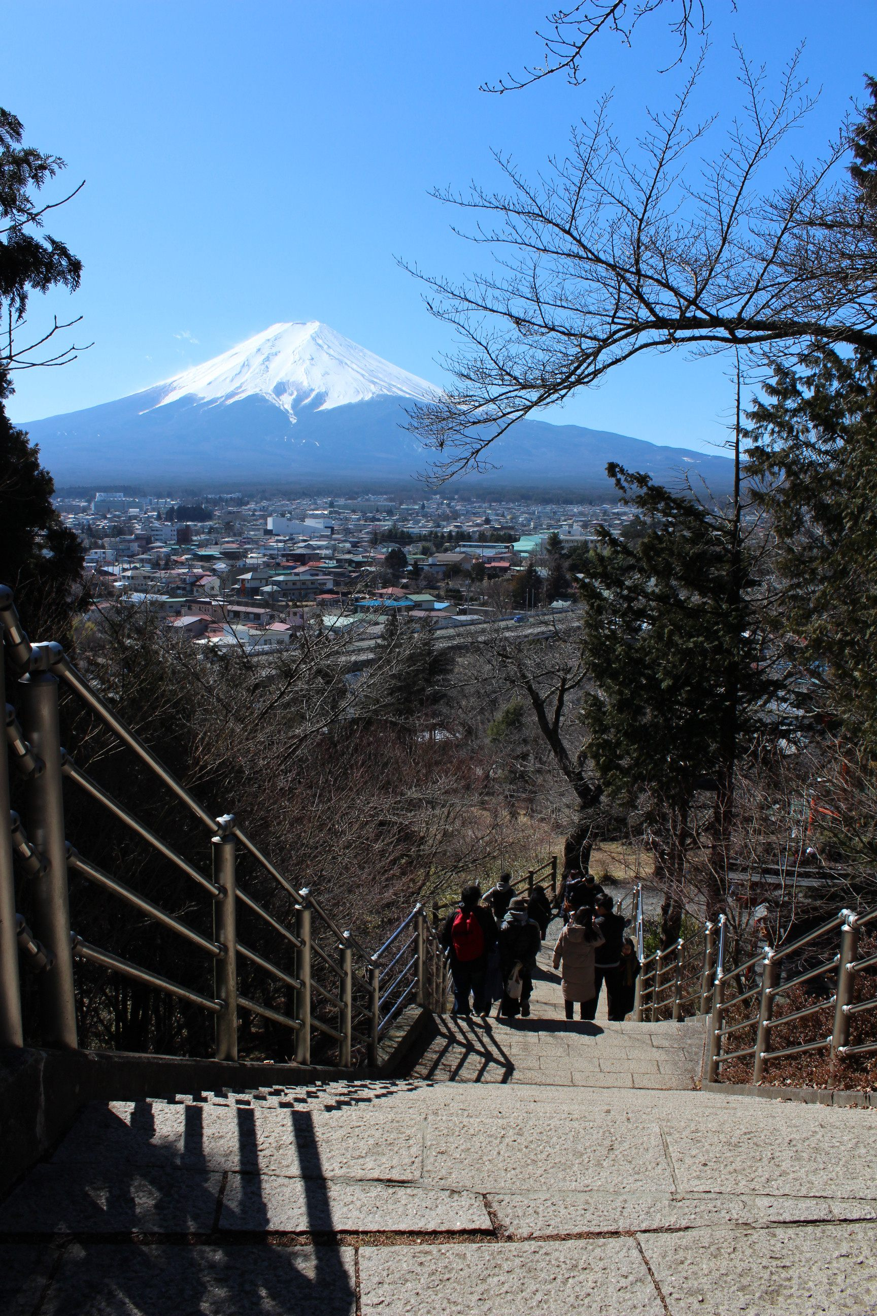 Looking at the Distant Mt. Fuji from the Steps