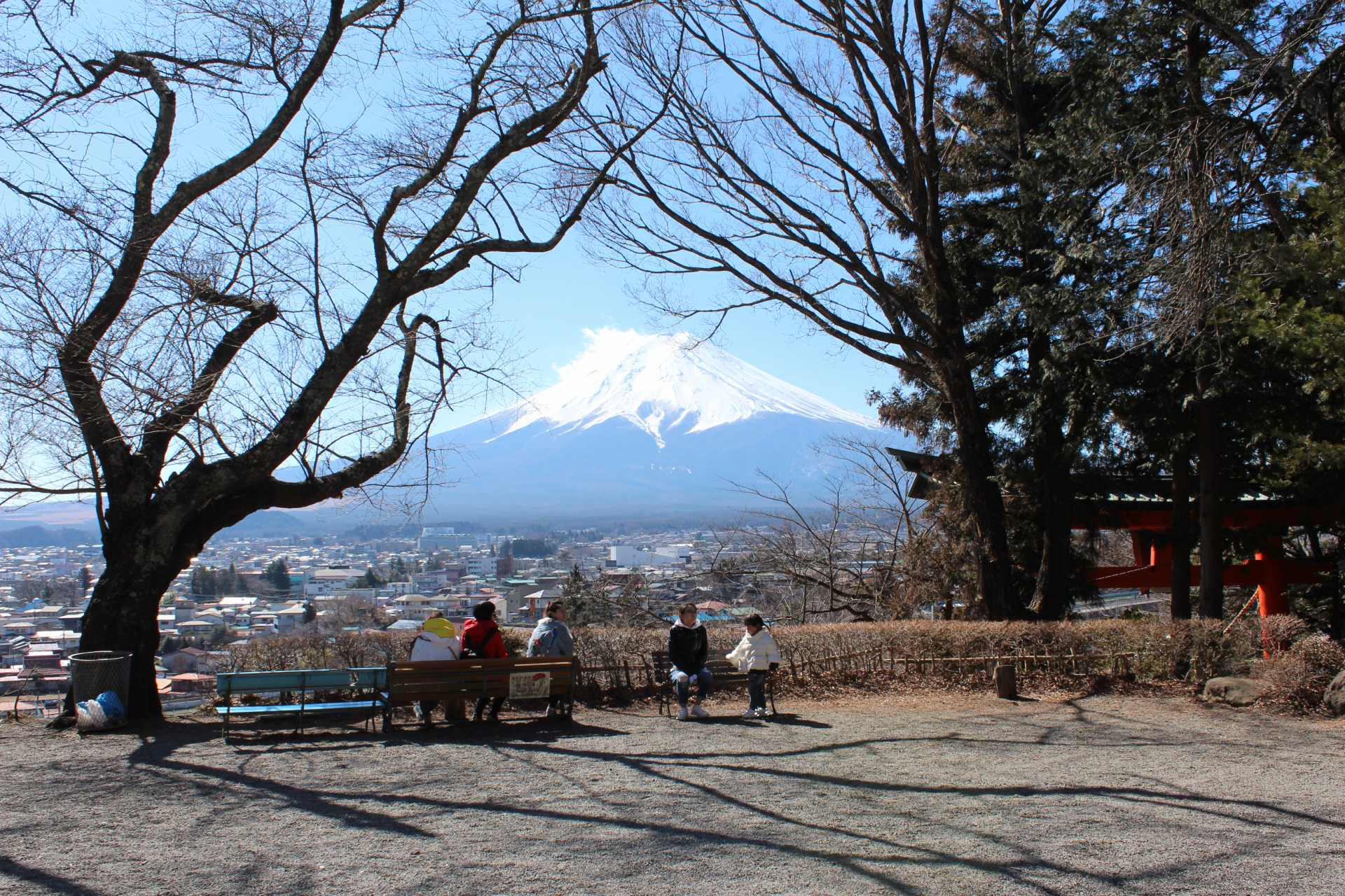 Take a Seat on a Bench and Enjoy the Beautiful View of Mt. Fuji