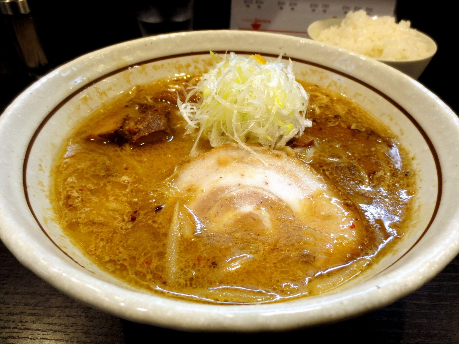 Miso Ramen 880 yen, White Rice (Small) 120 yen