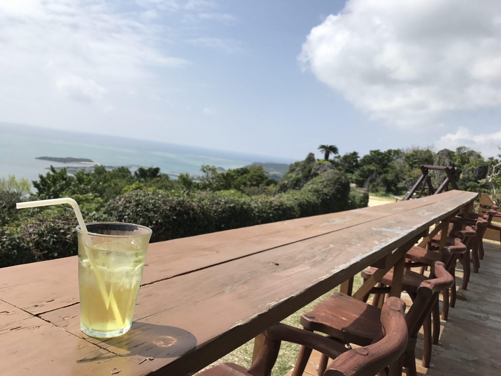 I can appreciate the seascape while drinking tea.