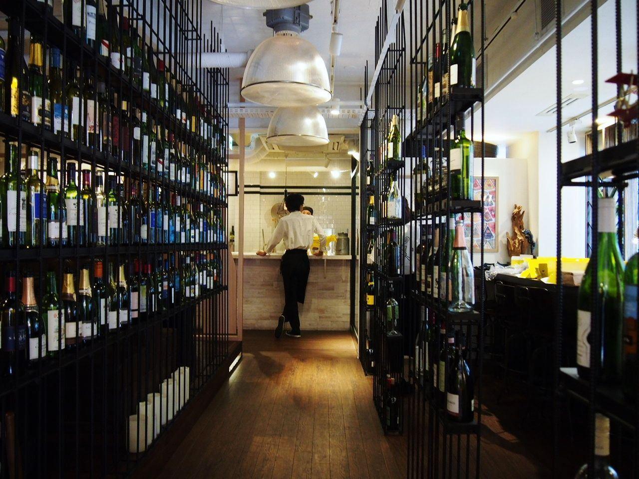Wine Bottles Lined Up Inside