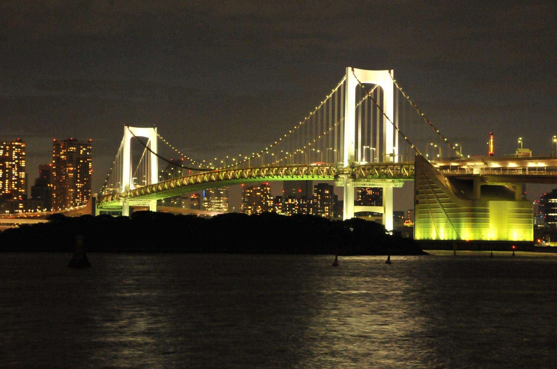 夜晚的彩虹大桥(照片由Ⓒ东京港埠头(株)提供)