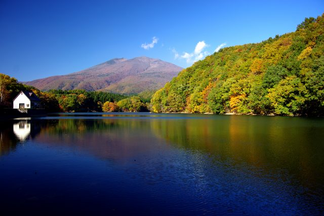 A Fall Foliage Viewing Spot in Miyagi: Fiery Red Maple Leaves Covering a Famous Mountain to the South of Mount Zao