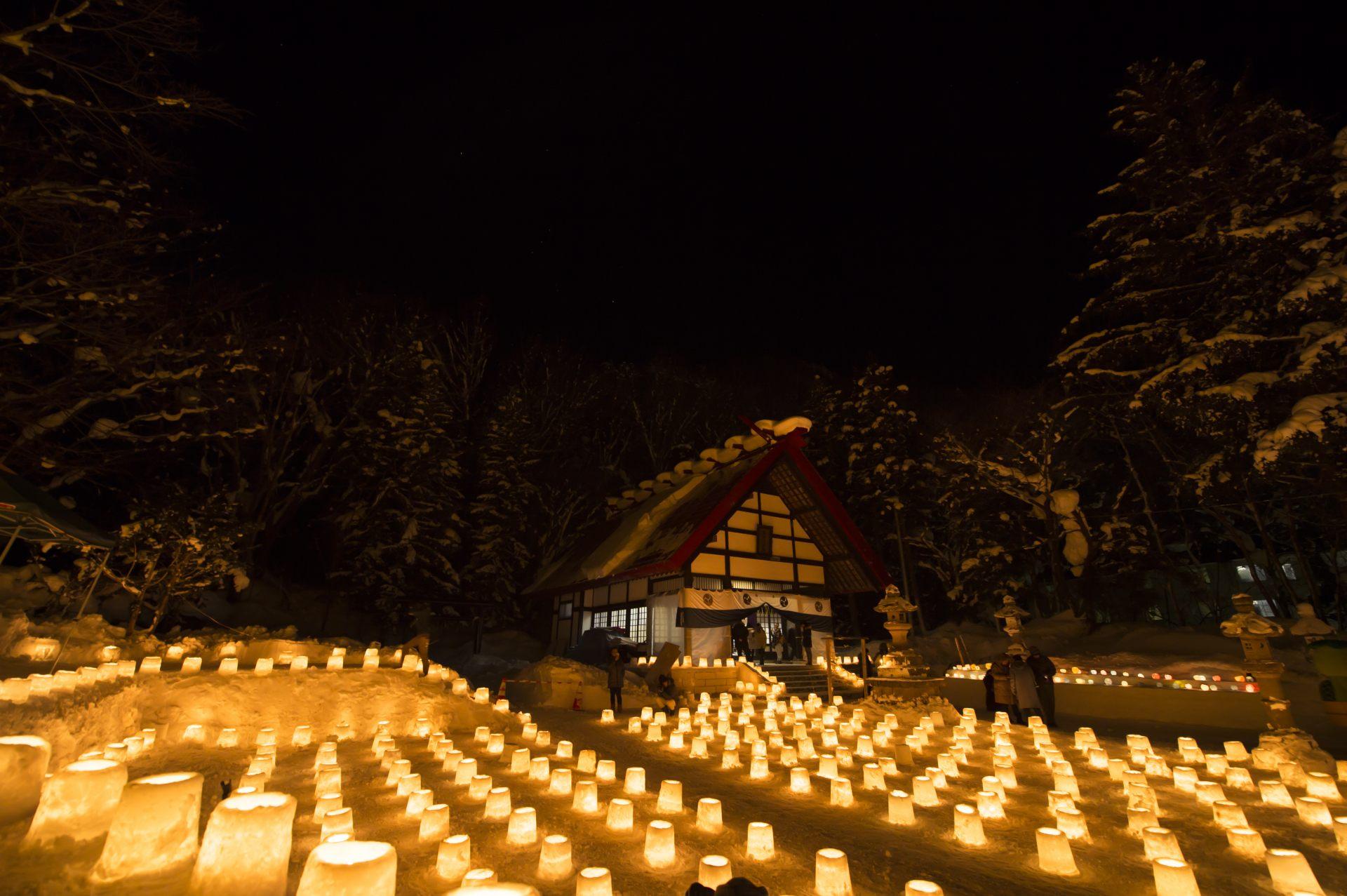 定山溪神社 溫馨的雪燈路♡