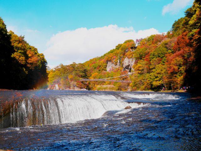 瀑布水潭附近的红叶