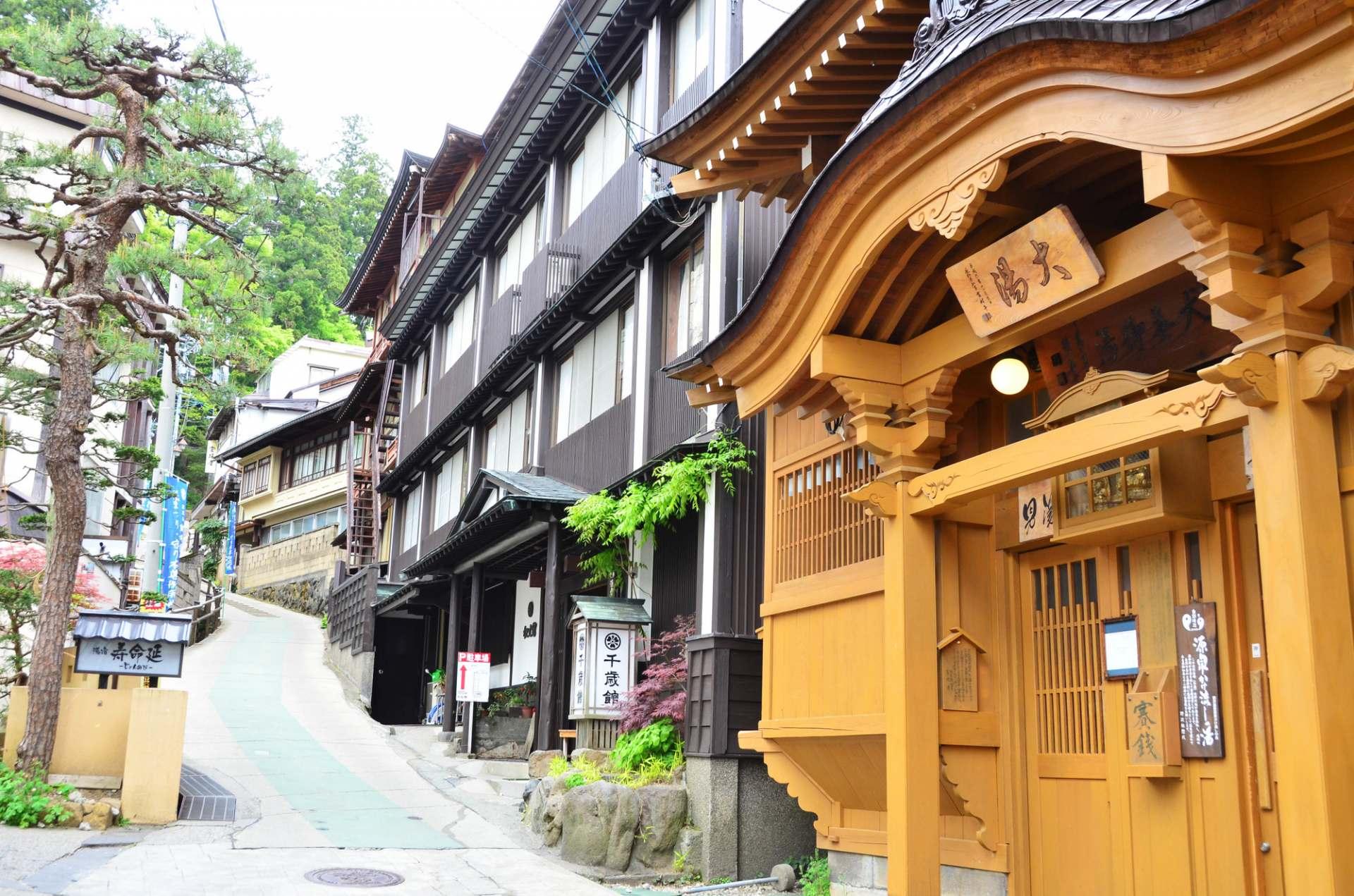 A Row of Inns in Nozawa Onsen Town
