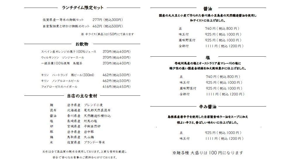 拉面菜单(照片来自官网)