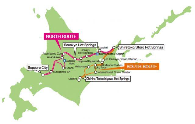 「東北海道周遊觀光巴士」運行路線
