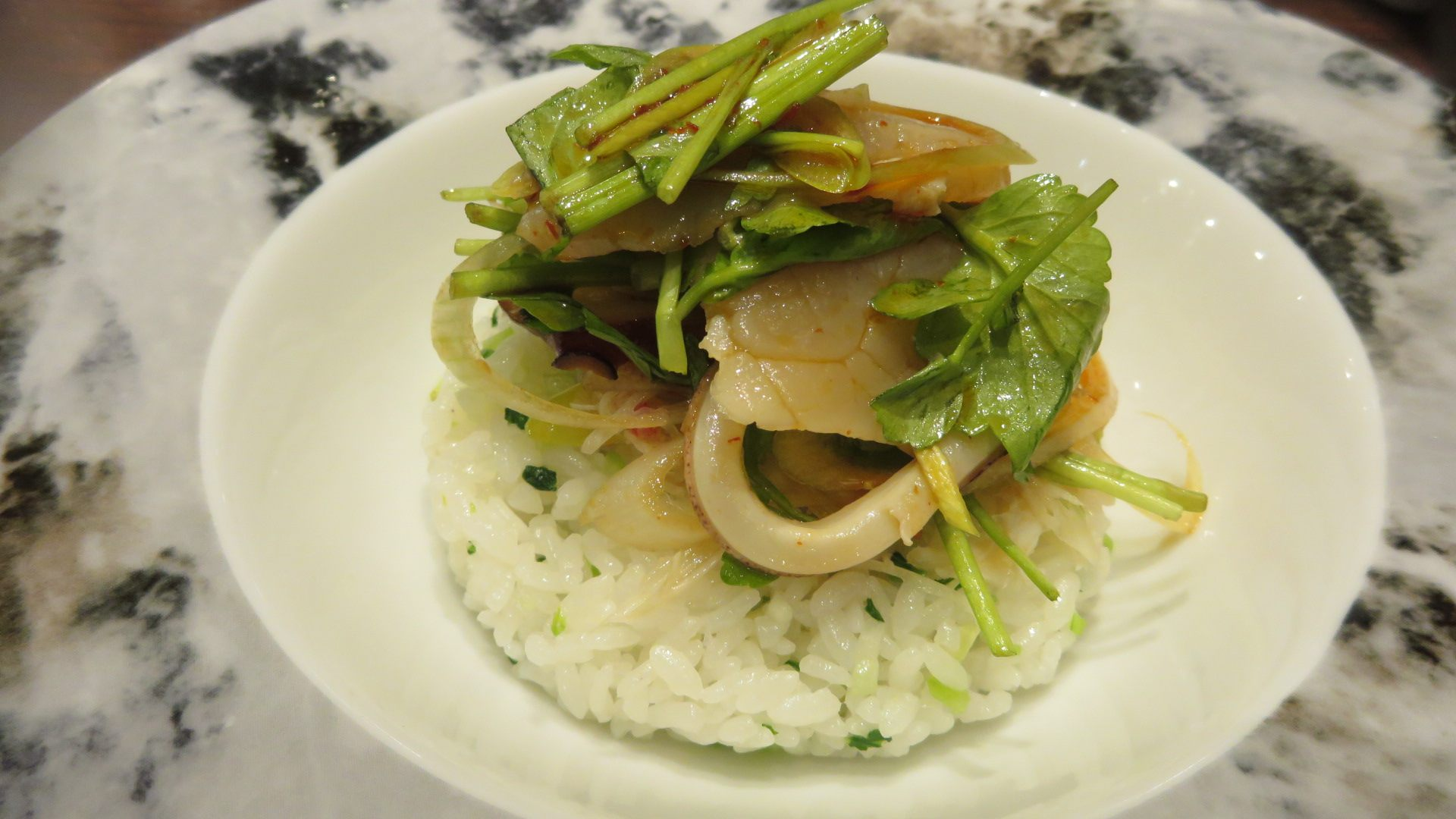 Seafood Rice with Greens