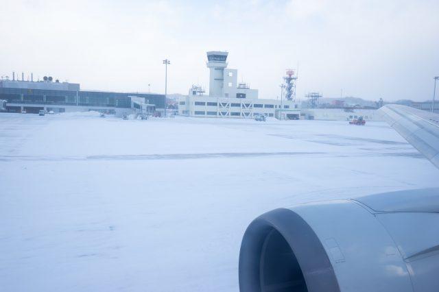 飛機在函館機場平安著陸了!
