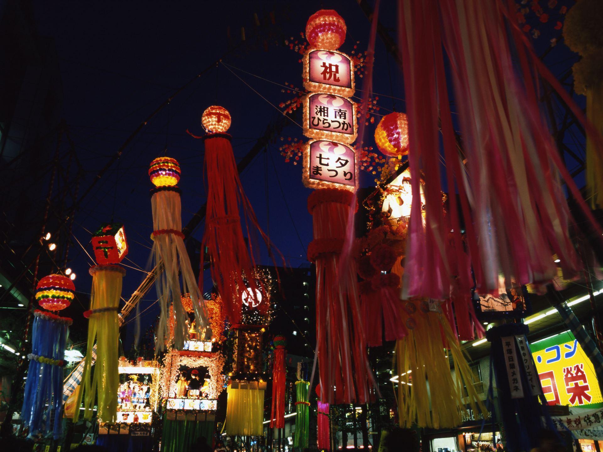 Tanabata decorations at night