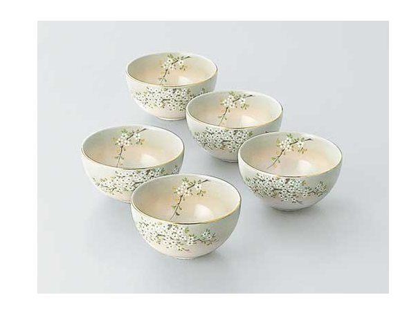 Flower Tea Cup Bowl (In Paulownia Wooden Box) (5pc set 10,800 yen)