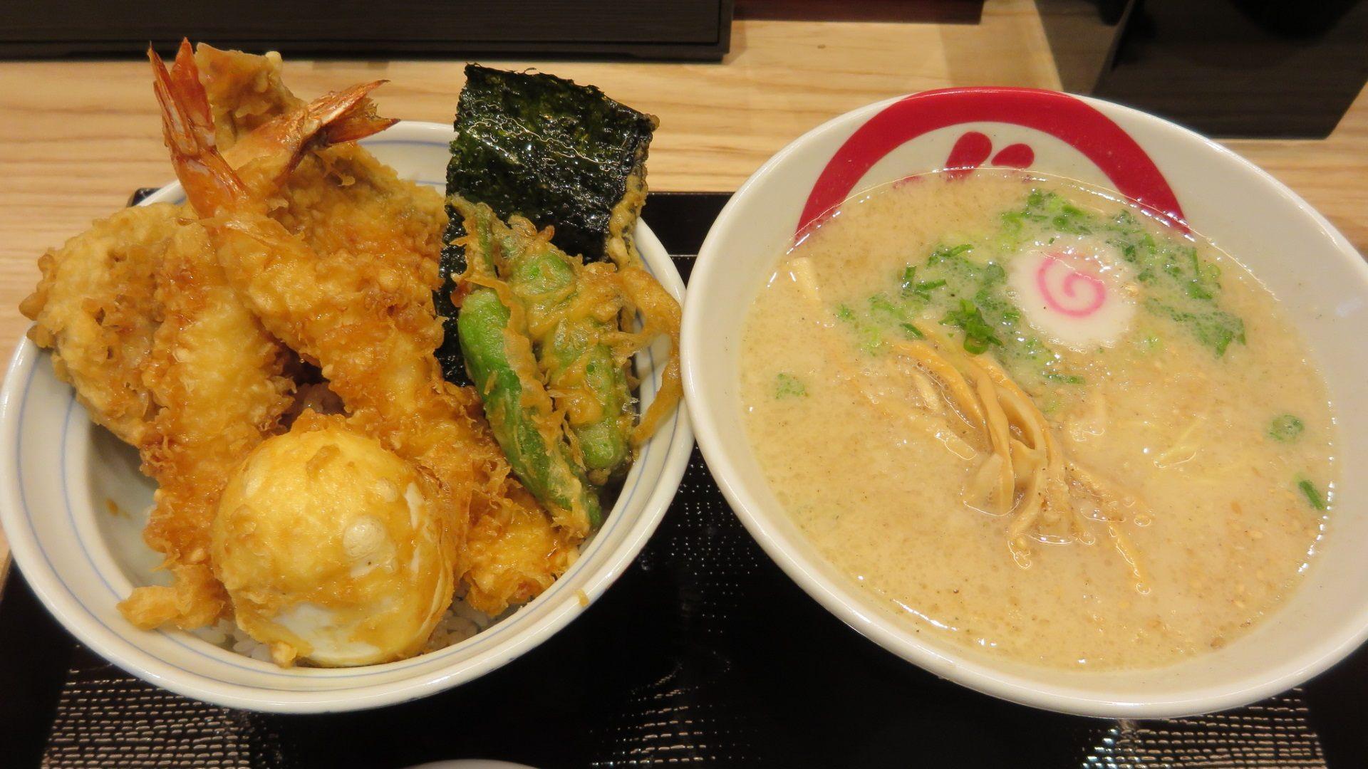 Tendon and Ramen 1380 yen