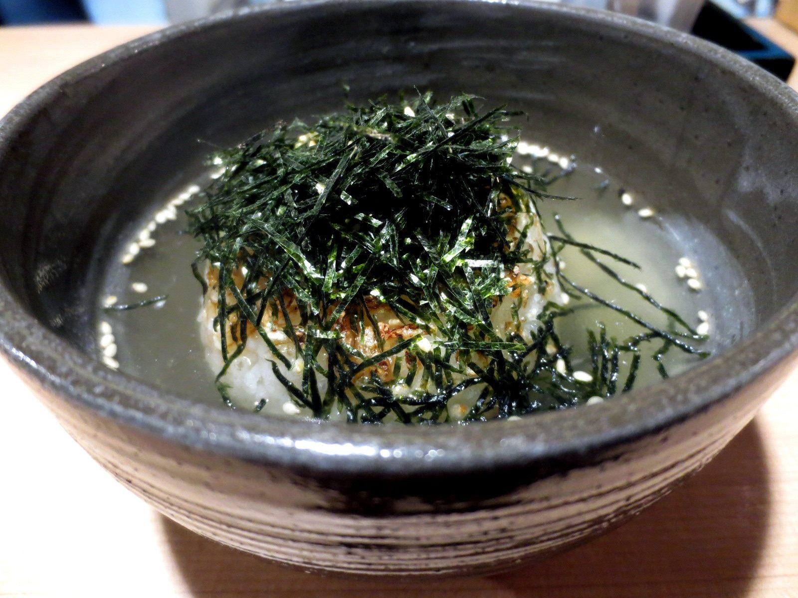 Grilled onigiri chazuke soup  ¥680