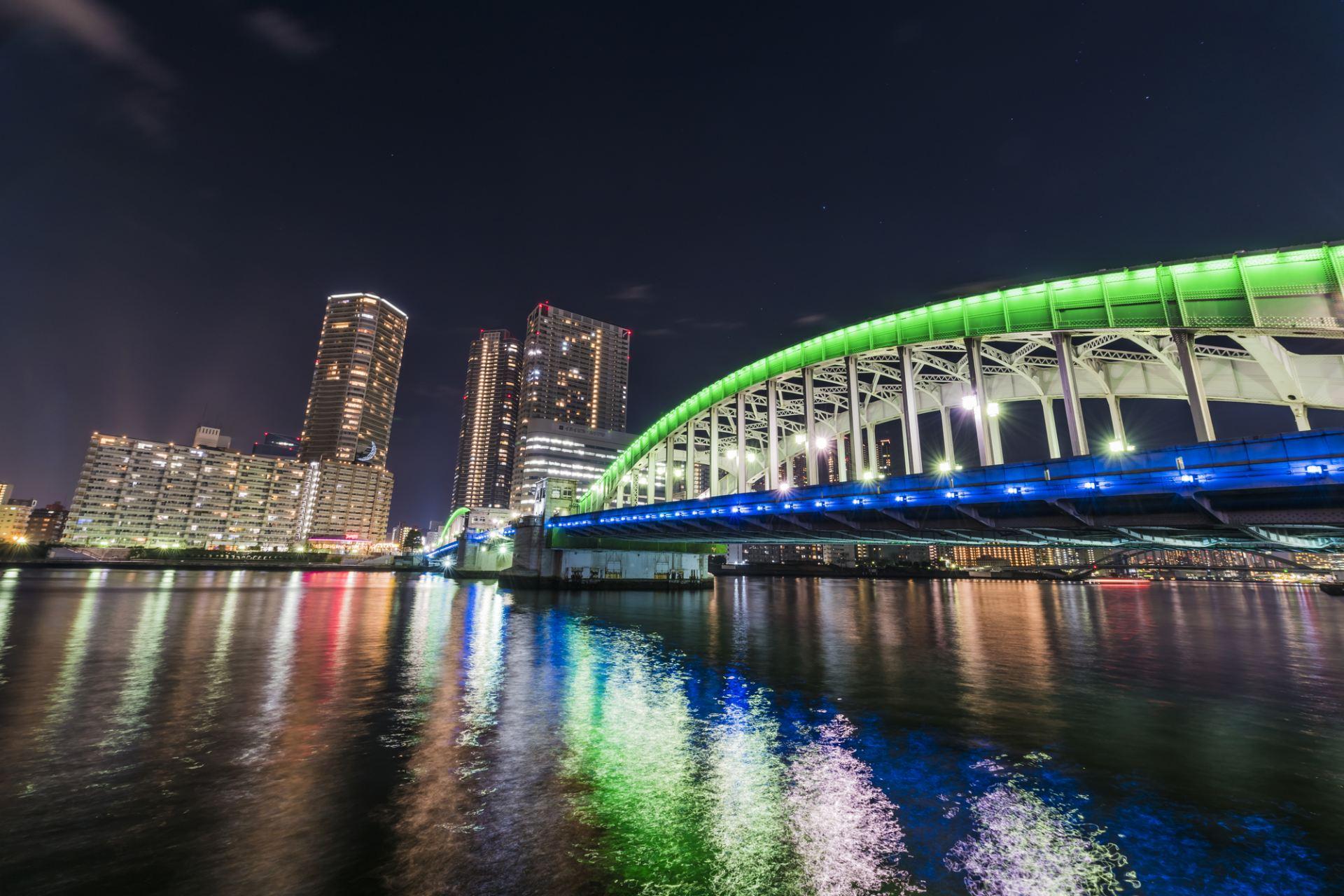 Kachidoki Bridge Lit Up