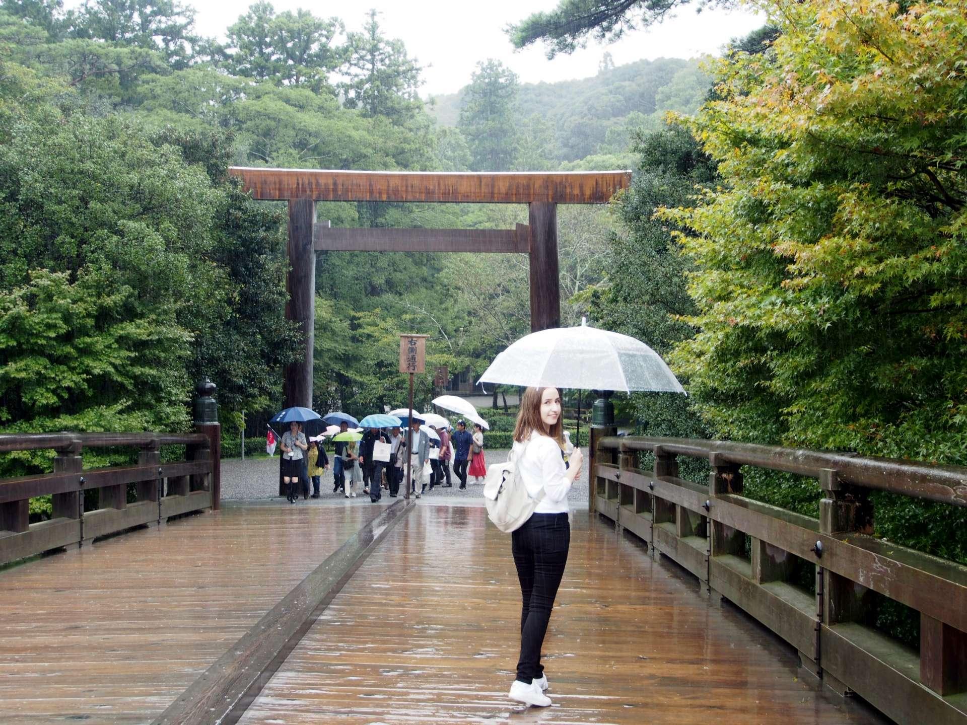 Crossing a historic-feeling bridge