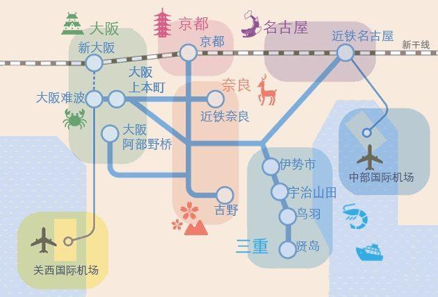 近铁电车连通了大阪、京都、奈良、三重和名古屋