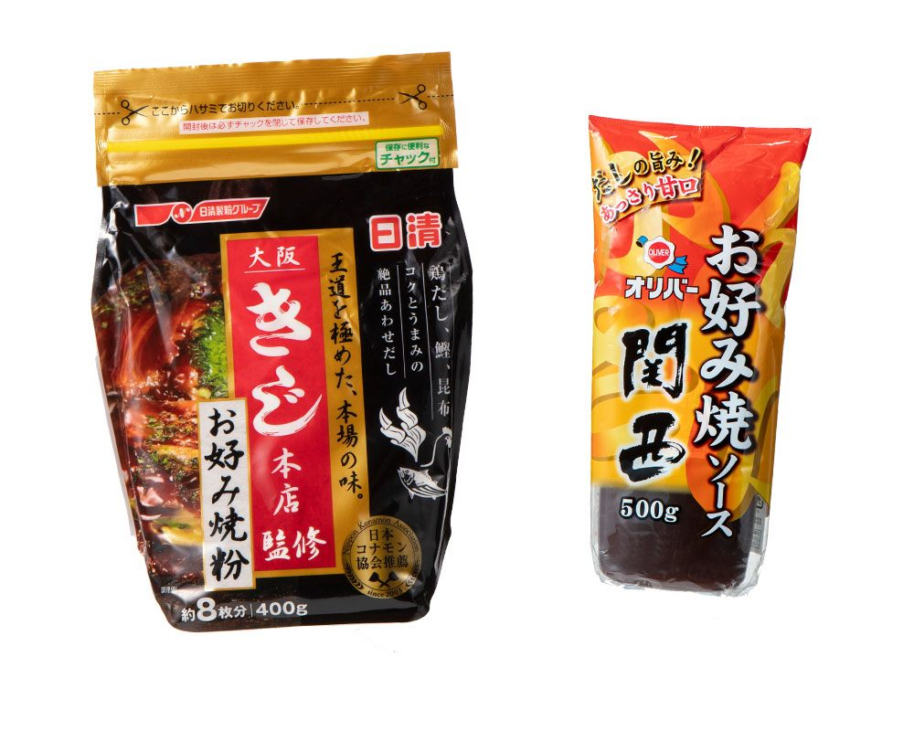 左:「日清 大阪KIJI總店監製 御好燒粉」、右:「OLIVER 御好燒醬汁 關西」