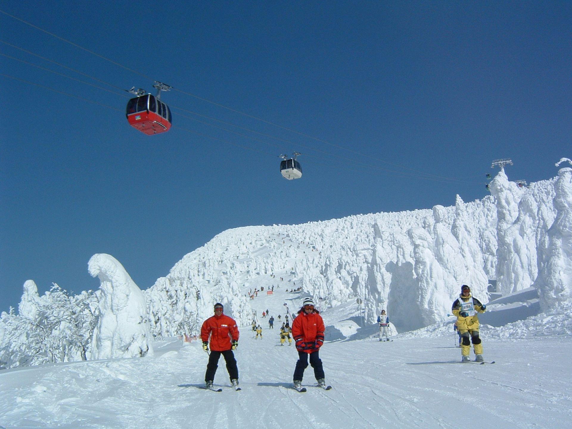 在樹冰原滑道滑行時,還能邊滑雪邊欣賞樹冰美景。