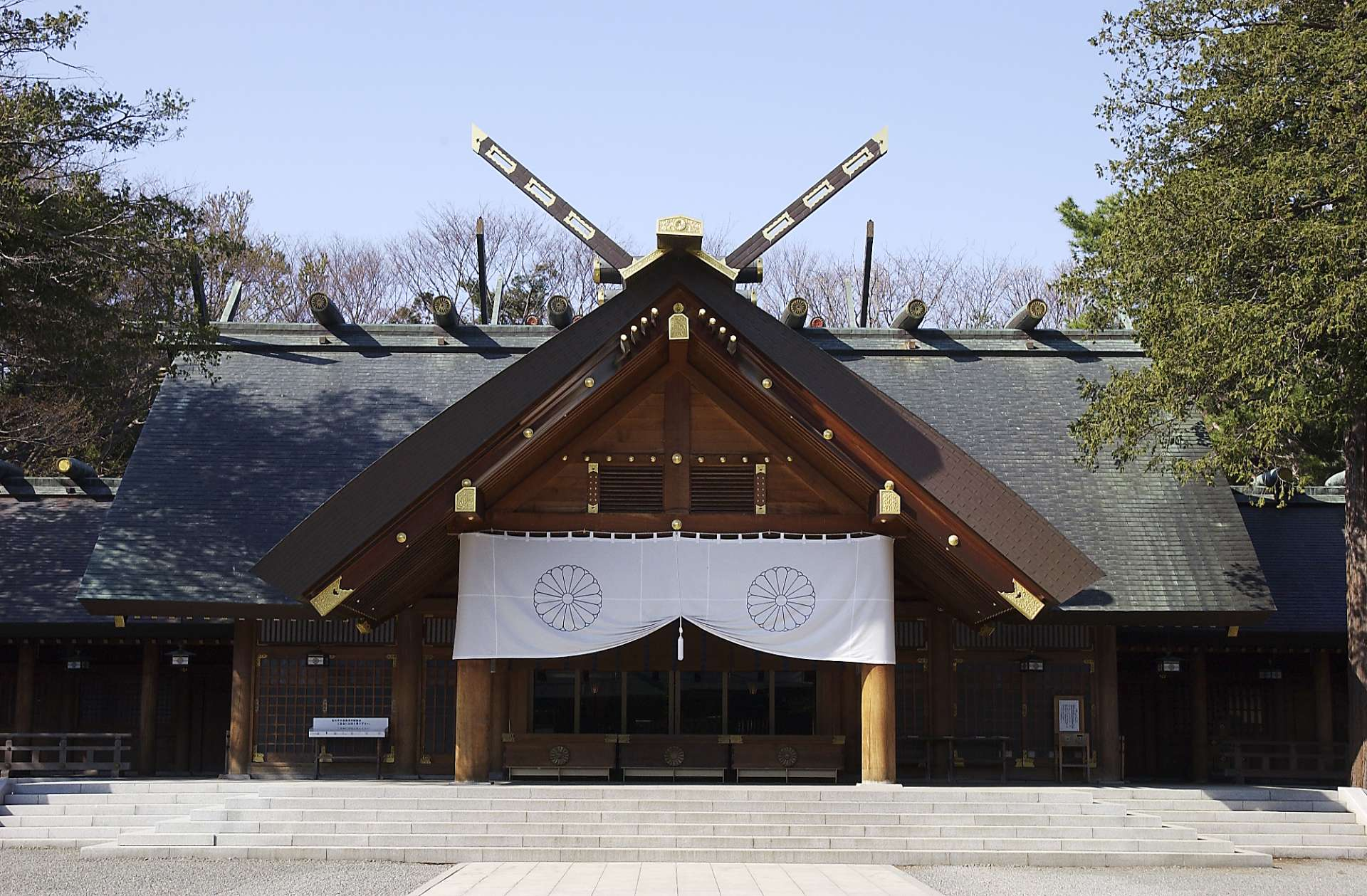 Hokkaido Shrine stands next to a primeval forest