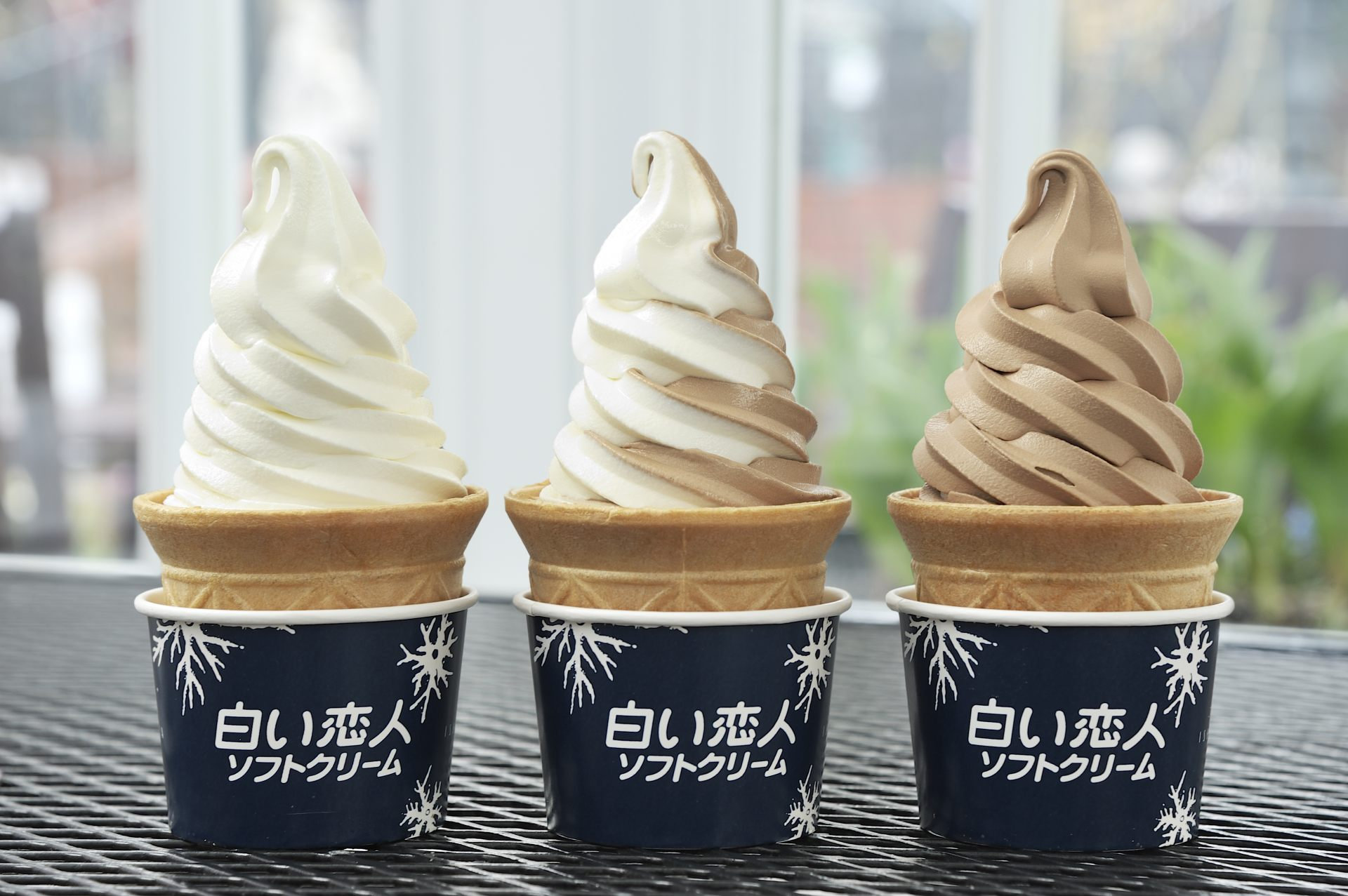 Soft-serve ice cream made using Shiroi Koibito chocolate