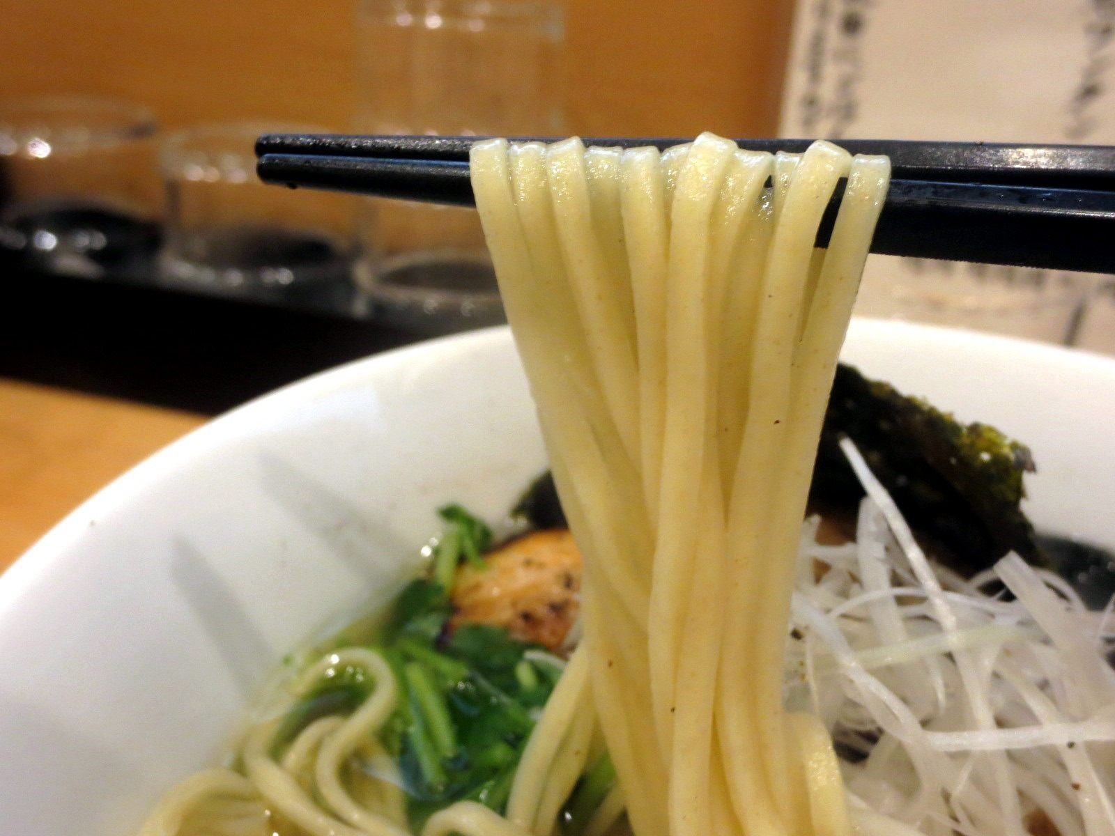 The noodles were straight and flat.